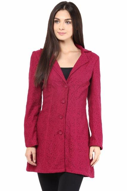 Lace Light Weight Jacket In Marsala Color/JKF450124