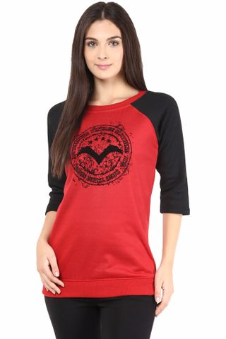 Sweatshirt In Red Color With Black Color Flock/SSF460073
