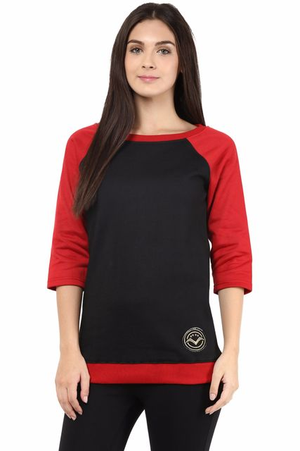 Sweatshirt In Black Color With Logo In Gold Lurex Embroidery/SSF460078