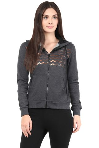 Hooded Sweatshirt In Charcoal Color With Distressed Print/SSF460079