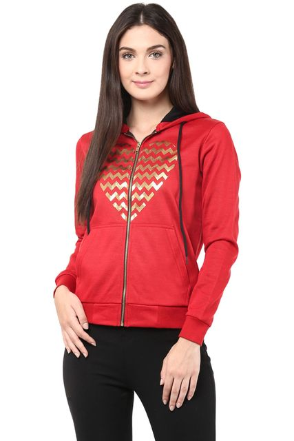 Hooded Sweatshirt In Red Color With Distressed Print/SSF460082