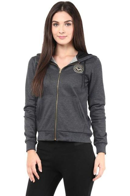 Sweatshirt In Charcoal Color With White Fur Hood/SSF460083