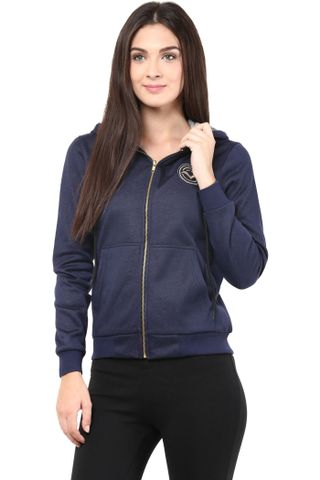 Sweatshirt In Navy Blue Color With Black Fur Hood/SSF460084