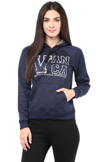 Hooded Sweatshirt In Navy Blue Color With V Patch/SSF460087
