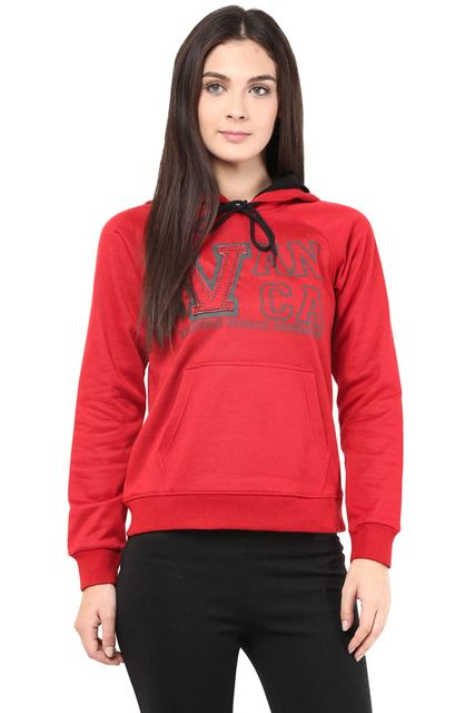 Hooded Sweatshirt In Red Color With V Patch/SSF460090