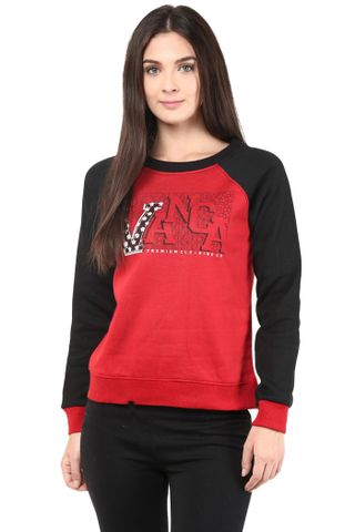 Round Neck Sweatshirt In Red Color With V Printed Patch/SSF460092