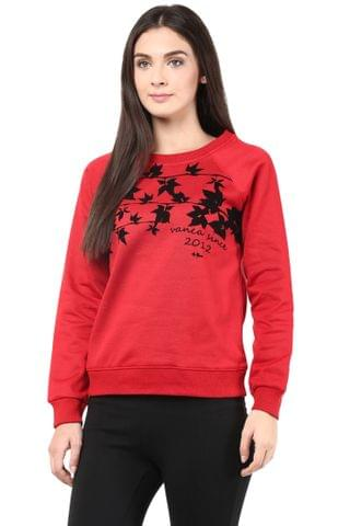 Round Neck Sweatshirt In Red Color With Flock Print/SSF460093