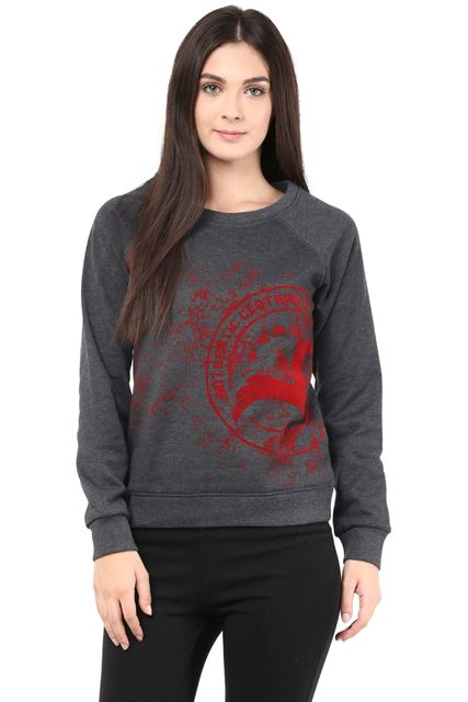 Round Neck Sweatshirt In Charcoal Color With Distressed Khadi Print/SSF460096