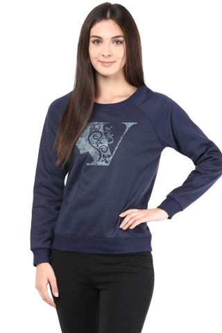 Round Neck Sweatshirt In Navy Blue Color With Distressed Gel Print/SSF460097