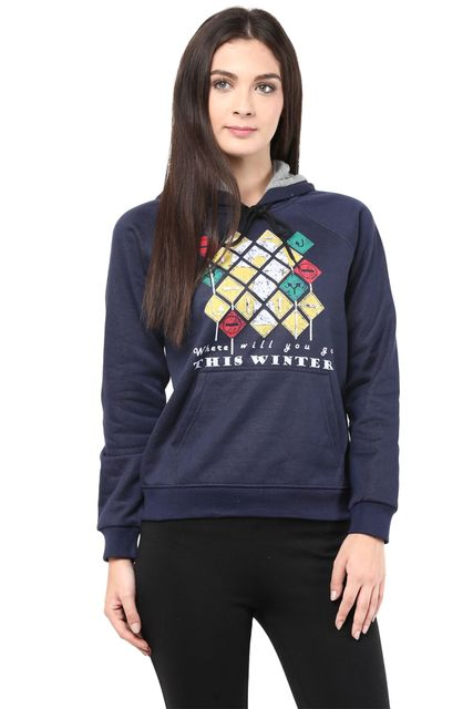 Hooded Sweatshirt In Navy Blue Color With Distressed Print/SSF460102