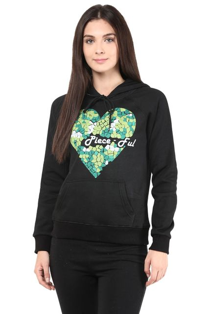 Hooded Sweatshirt In Black Color With Pigment Print/SSF460104
