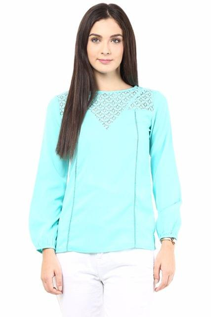 Casual Top With Lace At Yoke/TSF400302