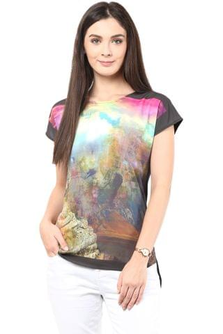 Digital Print Tee In Multi Color/TSF400375