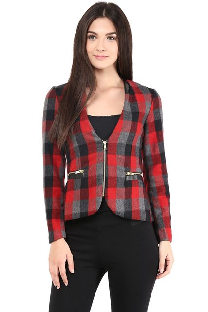 Red Jacket In Tweed Fabric/JKF400159