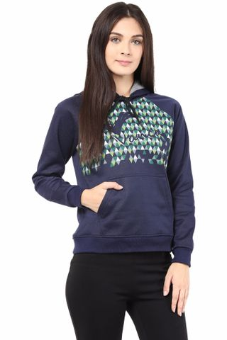 Hooded Sweatshirt In Navy Blue Color With Pigment Print/SSF460105