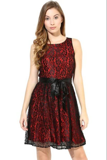 Nylon Lace Dress In Black Color With Shantoon Lining/DRF500269