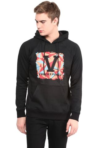Hooded Sweatshirt In Black Color With V Base Patch/SSM460108