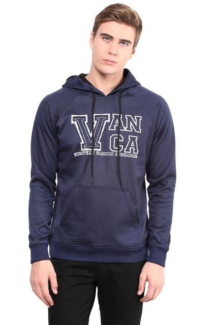 Hood Sweatshirt In Blue Color With V Patch And Rice Taka Detail/SSM460110