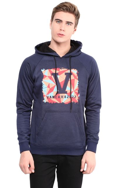 Hooded Sweatshirt In Blue Color With V Base Patch/SSM460107