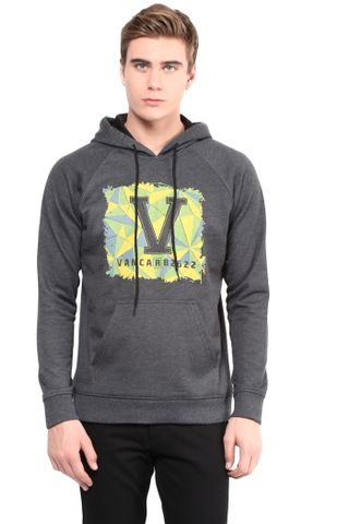 Hooded Sweatshirt In Charcoal Color With V Base Patch/SSM460109