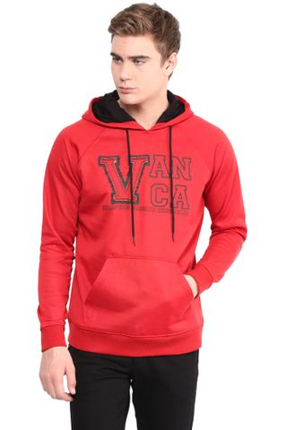 Hood Sweatshirt In Red Color With V Patch And Rice Taka Detail/SSM460112