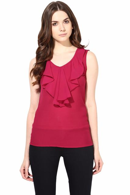 Casual Top In Marsala Summer Cool Fabric With Flounce At Front/TSF400475