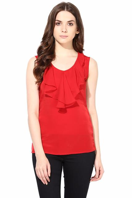 Casual Top In Red Summer Cool Fabric With Flounce At Front/TSF400476