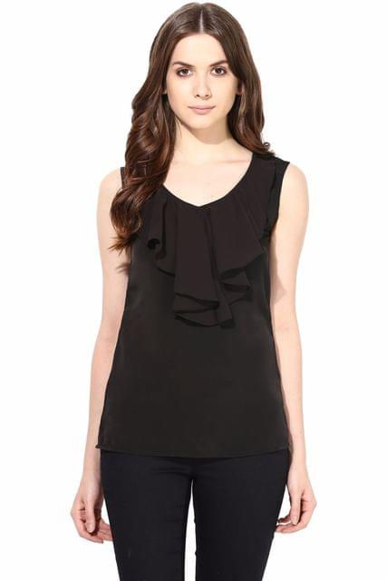 Casual Top In Black Summer Cool Fabric With Flounce At Front/TSF400477