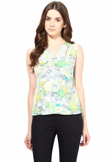 Printed Crepe Top With Front Overlap Detail In Green Color/TSF400467