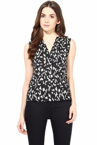 Printed Crepe Top With Front Overlap Detail In Black Color/TSF400468