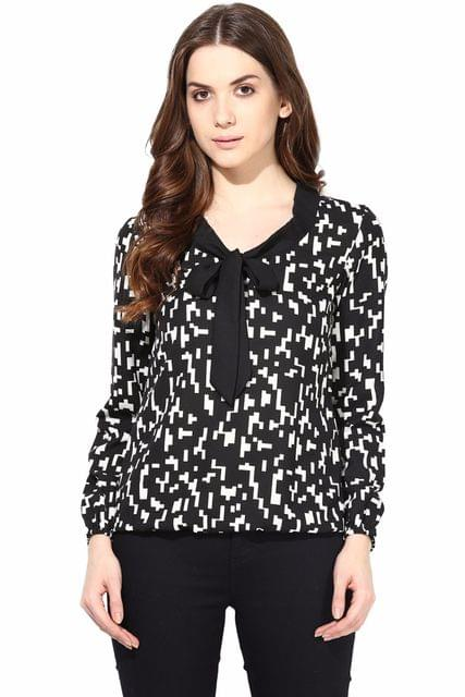Casual Top With Tie At Neck In Black Color/TSF400470