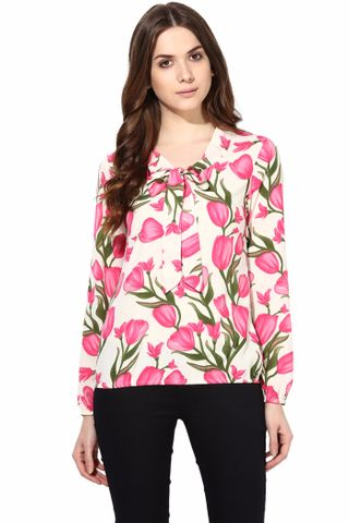 Casual Top With Tie At Neck In Fuchsia Color/TSF400471