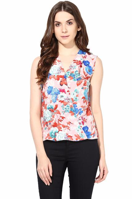 Printed Crepe Top With Front Overlap Detail In Red Color/TSF400473