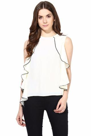 Casual Top With Side Cascade And Black Edging/TSF400478