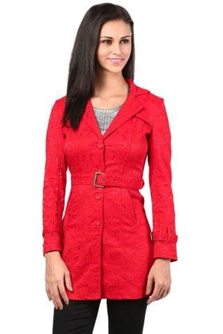 Lace Light Weight Long Jacket In Red Color/JKF450049