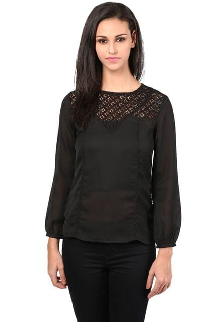 Black Color Top With Lace At The Yoke/TSF400399