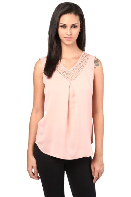 Top With Lace At Neck And Back In Peach Color/TSF400402