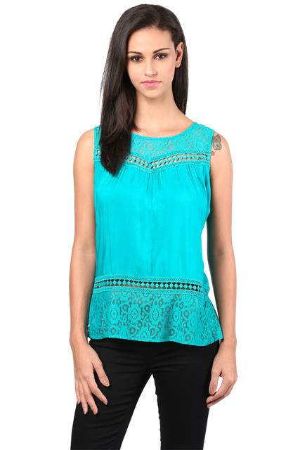 Top With Lace At Neck And Back In Teal Color/TSF400407