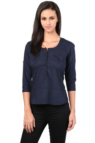 Casual Top With Fagetting Detail In Ink Blue Color/TSF400410