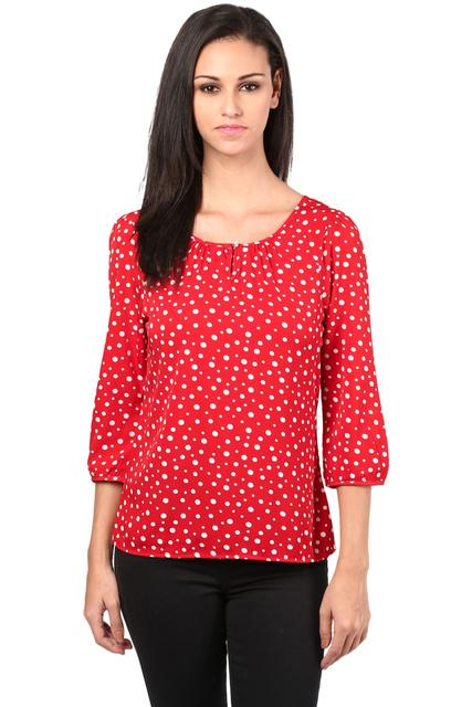 Poly Crepe Top In Red Color/TSF400416