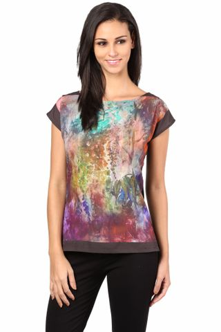 Digital Print Tee In Multi Color/TSF400461