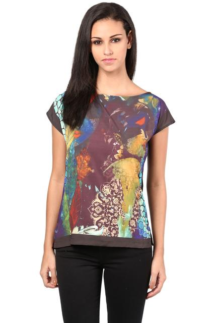 Side Slit Digital Print Tee In Multi Color/TSF400485