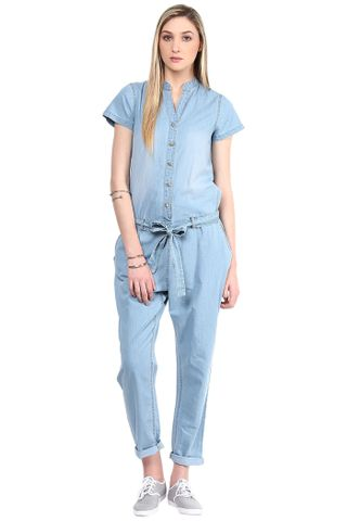Denim Jumper In Blue Ice Wash With A Waist Belt/DRF500190