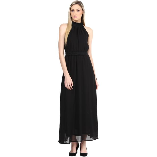 Maxi Dress In Black Color With A Waist Belt/DRF500311