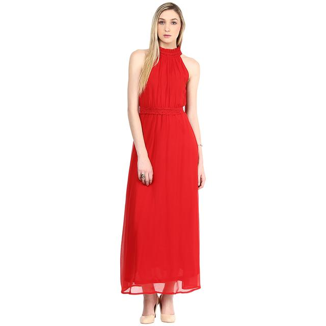 Maxi Dress In Red Color With A Waist Belt/DRF500312