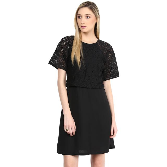 Dress In Black Color With Lace At Body Part/DRF500349