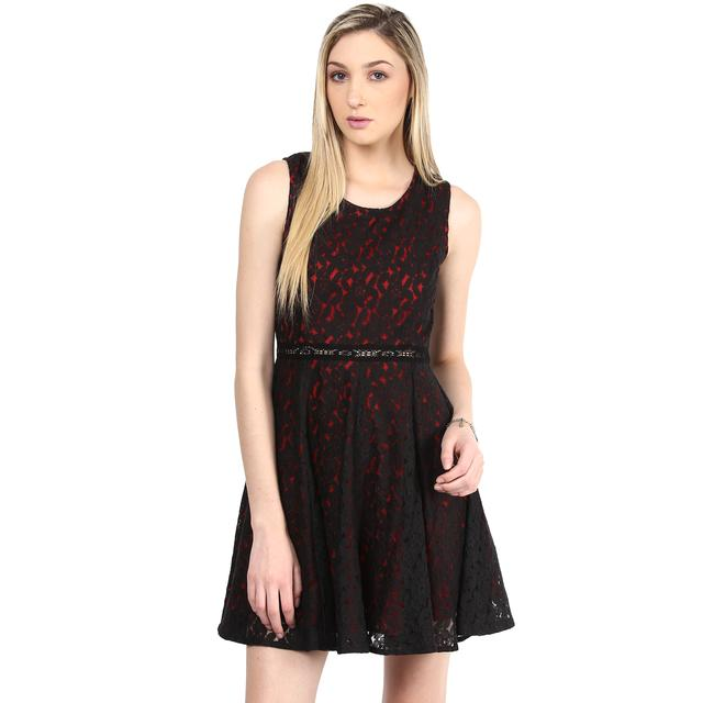 Dress In Black Lace With Red Poly Knit Lining/DRF500352