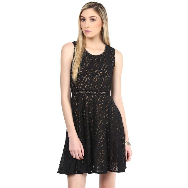 Dress In Black Lace With Camel Poly Knit Lining/DRF500353