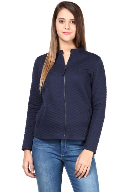 Women'S Jacket In Blue Diamond Pattern Knit/JKF450155