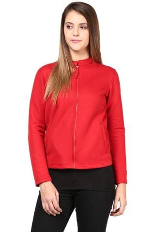 Women'S Jacket In Red Zig Zag Pattern/JKF450158